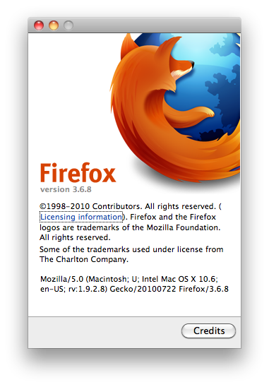 Old About Firefox Window