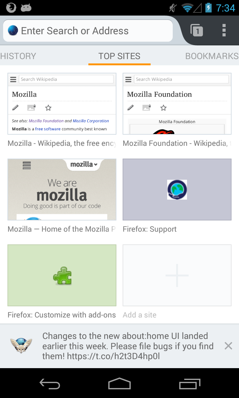 Home Page Snippets for Firefox for Android
